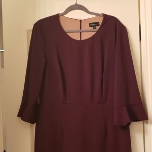 Burgundy dress with bell sleeves